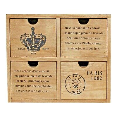 £24.89 • Buy Set Of 4 Drawers Rustic Storage Unit Trinket Drawers Office Desk French Style UK