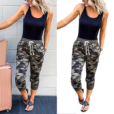 £11.99 • Buy Womens Ladies Camouflage Cargo Trousers 3/4 Length Pants Jogging Bottoms 10-16