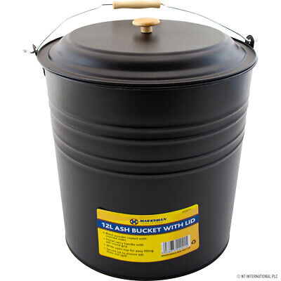 £9.95 • Buy New 12l Metal Ash Bucket With Lid Wooden Handle Fireplace Container Litre Coal