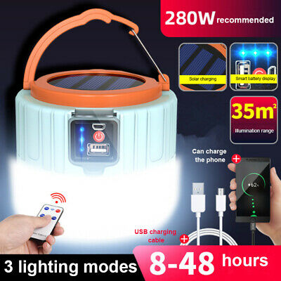 AU23.99 • Buy Rechargeable 280W LED Camping Tent Light USB Solar Lantern Outdoor Garden Lamp