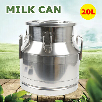 $92 • Buy Milk Can Stainless Steel Wine Pail Bucket Tote Jug Oil Barrel Tea Canister 20L