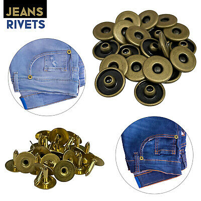 Solid Brass 11.5mm Rivets For Jeans Leather Denim Jacket Crafts 10pcs To 500pcs • 2.09£