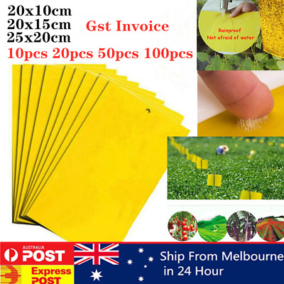 AU9.99 • Buy Up To 100pcs Yellow Sticky Glue Paper Insect Trap Catcher Killer Fly Aphids Wasp