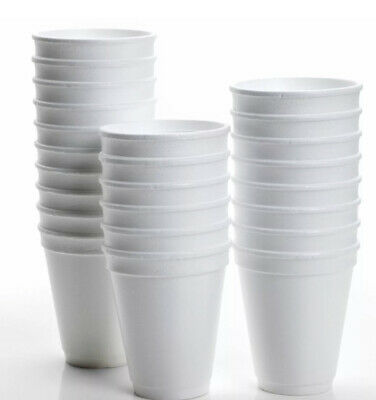 100X Disposable Foam Cups Polystyrene Coffee Tea Cups For Hot Drinks • 11.90£