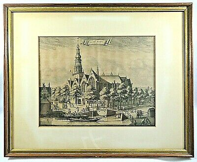 £161.82 • Buy Antique Dutch 18th Century Etching Of The Oude Church In Amsterdam,  Framed