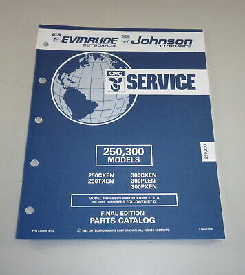 AU31.05 • Buy Parts Catalog Omc Evinrude Johnson Outboard Motor 250/300 Models Stand 05/1992