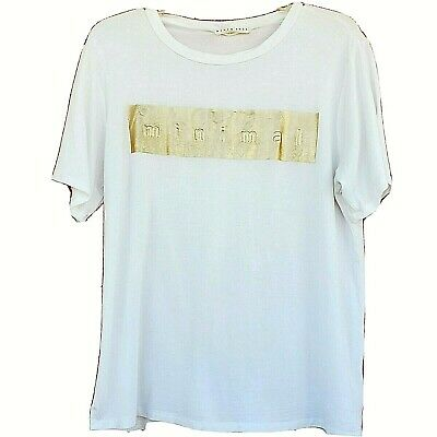 AU17.93 • Buy Blush Noir Clothing Minimal Tee-Shirt Womens Size Small White Gold Spell Out