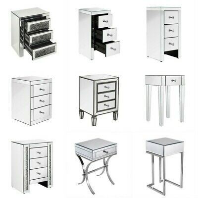 £117.99 • Buy Mirrored Glass Bedroom Bedside Table Nightstand Chest 1,3 Drawers Units Cabinet