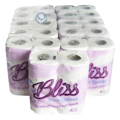 40 Rolls Bliss 3ply Luxury Triple Quilted 20m Soft Toilet Roll Tissue Paper  • 12.29£