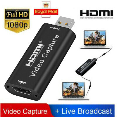 HDMI Video Capture Card USB 2.0/1080p HD Recorder For Streaming/Game Video Live • 7.98£