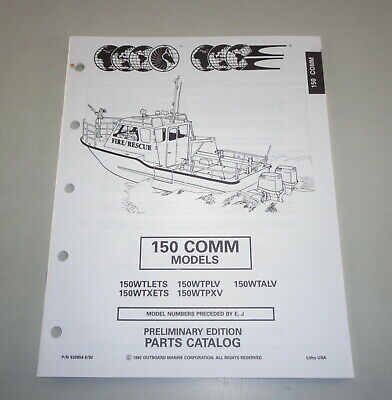 AU31.05 • Buy Parts Catalog Omc Evinrude Johnson Outboard Motor 150 Comm Models Stand 08/1992