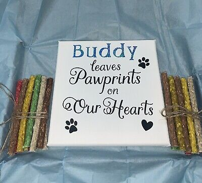 Dog Personalised Any Name Added Canvas & Munchy Rolls Chews Treat Letterbox Gift • 9.99£