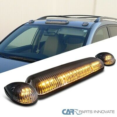 $29.35 • Buy Clear 3x Amber LED Cab Roof Running Marker Lights Lamps W/ Wiring Kit