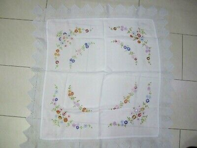 Lovely Vintage Hand Embroidered,cotton Lace Edged Tablecloth,106 X 100 Cm,vgc • 5.99£