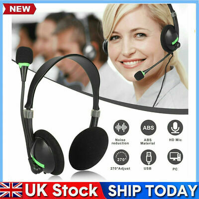 USB Headphones With Microphone Noise Cancelling Headset For Skype Laptop 2021 • 7.99£