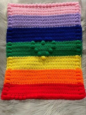 Crochet Baby Rainbow Pram Blanket With Love Heart • 18£