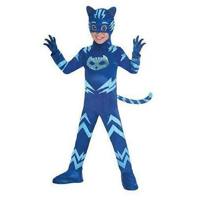 Boys PJ Masks Muscle Chest Catboy Fancy Dress Glow In The Dark Costume 5/6 YRS • 11.99£