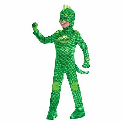 Boys Deluxe PJ Masks Gekko Costume Official UK Superhero Fancy Dress Outfit • 13.99£