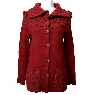 $ CDN45.92 • Buy Anthropologie Cablepom Cardigan Sweater S Red Knit Wool Blend Sleeping On Snow