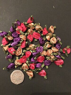50x MINI PINK GOLD & PURPLE SATIN RIBBON ROSEBUDS/ FLOWERS CRAFT/WEDDING 10mm • 3£