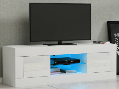 Modern TV Stand High Gloss 2 Doors 2 Glass Shelves Storage Cabinet With LED • 65.99£