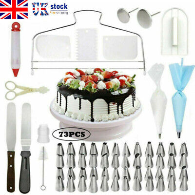 £14.59 • Buy Cake Decorating Equipment Turntable Set Icing Nozzles Spatula Stand Rotating Kit