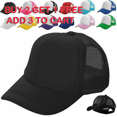 Mens Womens Mesh Baseball Caps Trucker Hat Sports Sun Visor Breathable Snapback • 6.99£