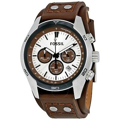 $139.99 • Buy New Fossil Coachman Silver Tone,brown Leather Cuff Band,chronograph Watch Ch2565