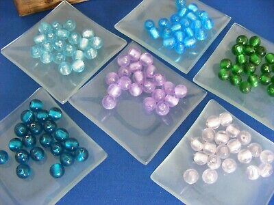 Lampwork Glass Beads Silver Foil Lined 10mm Pack Of 20 Jewellery Making UK • 1.55£