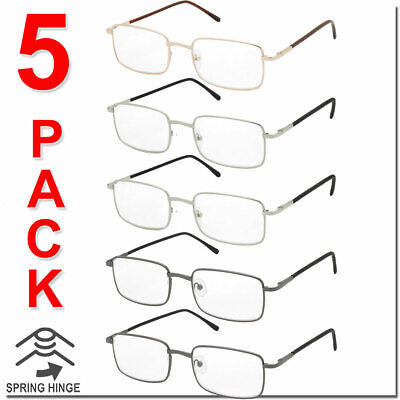 $12.95 • Buy Reading Glasses Mens Womens Square Spring Hinge Unisex 5 Pack New Style Look