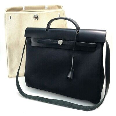 AU1248 • Buy HERMES Herbag MM 2WAY Hand Bag Shoulder Bag Toile H/Toile Office Black Natural