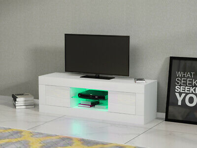 £63.99 • Buy Modern White TV Unit TV Cabinet Stand Sideboard High Gloss Doors RGB LED Lights