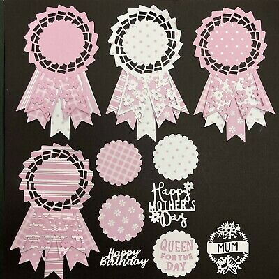 £3.25 • Buy Mothers Day Birthday Large Rosette Card Topper Die Cuts - Assorted Sets Of 4
