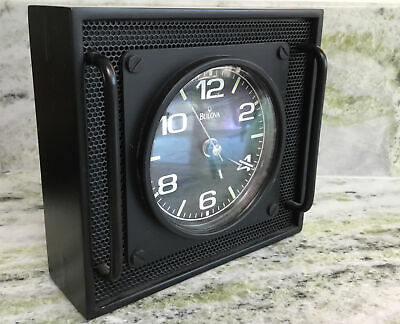 BULOVA Aviators BLACK ALARM CLOCK, Metal Grid/ Handles  Very Cool • 33.94£