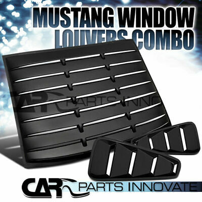 $191.81 • Buy Ford 05-14 Mustang Black 1/4 Side Window Louvers+Rear Sun Shade Scoop Cover