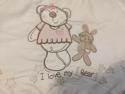 Pretty TOY R US Baby Cot Bumper I Love My Bear Pink / White Approx 130cm X 27cm • 4.99£