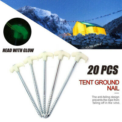 AU25.99 • Buy 20Pcs Tent Pegs Heavy Duty Screw Steel Ground Camping Stakes Luminous Tent Nail
