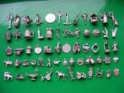 H) Vintage Sterling Silver Charms Charm Cart Horse Bell Ship Bike  Harp Heart • 8.99£