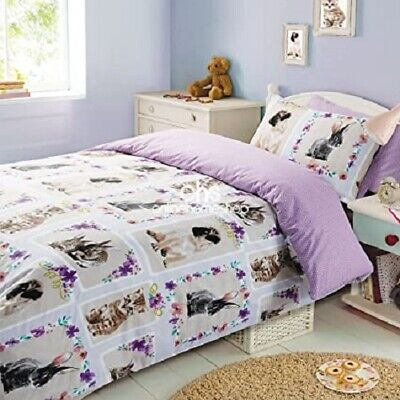 Pet Love Pets Rabbit Cat Dog (pug?Duvet Set King Size Junior Summer Reversible • 13.99£