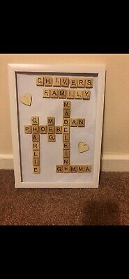 Scrabble Picture Box Frame Word Art Personalised Family Name & Heart • 15£
