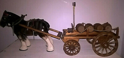 Large Ceramic Shire Horse And Wooden Dray Cart  • 75£