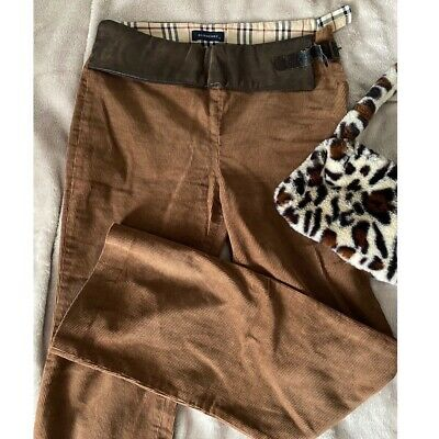 Burberry Brown Corduroy Flared Low Waited Trousers With Leather Buckle Belt  • 40£