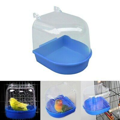 New Bird Water Bath Tub For Pet Bird Cage Hanging Bowl Parrots Parakeet Birdbath • 6.80£