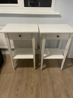 2x IKEA Hemnes White Bedside Tables, Sold As Pair • 22£