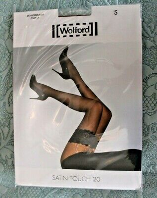 Wolford Satin Touch 20 Hold Up Stockings Mousse (Tan). S BNIP • 8£