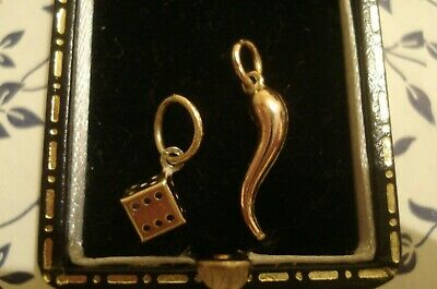2 Beautiful Finely Crafted 9CT Gold Pendant/Charm: Dice & A Lucky Horn Of Plenty • 16£