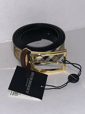 New Burberry London Check Women's Belt Size 40/100 - Made In Italy- • 70.92£