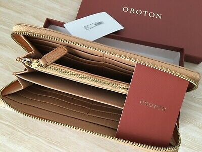 AU149 • Buy Brand New! OROTON Wallet $229 Womens Zip Around Large Leather Tan Fab Gift Capri