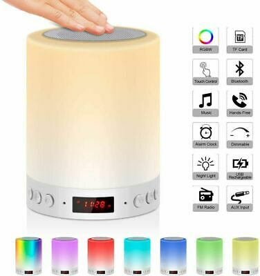 Touch Sensor LED Night Light With Bluetooth Speaker Music MP3 Bedside Lamp Clock • 14.99£