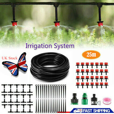 82ft Automatic Drip Irrigation System Kit Plant 25M Self Watering Garden Hose UK • 11.13£